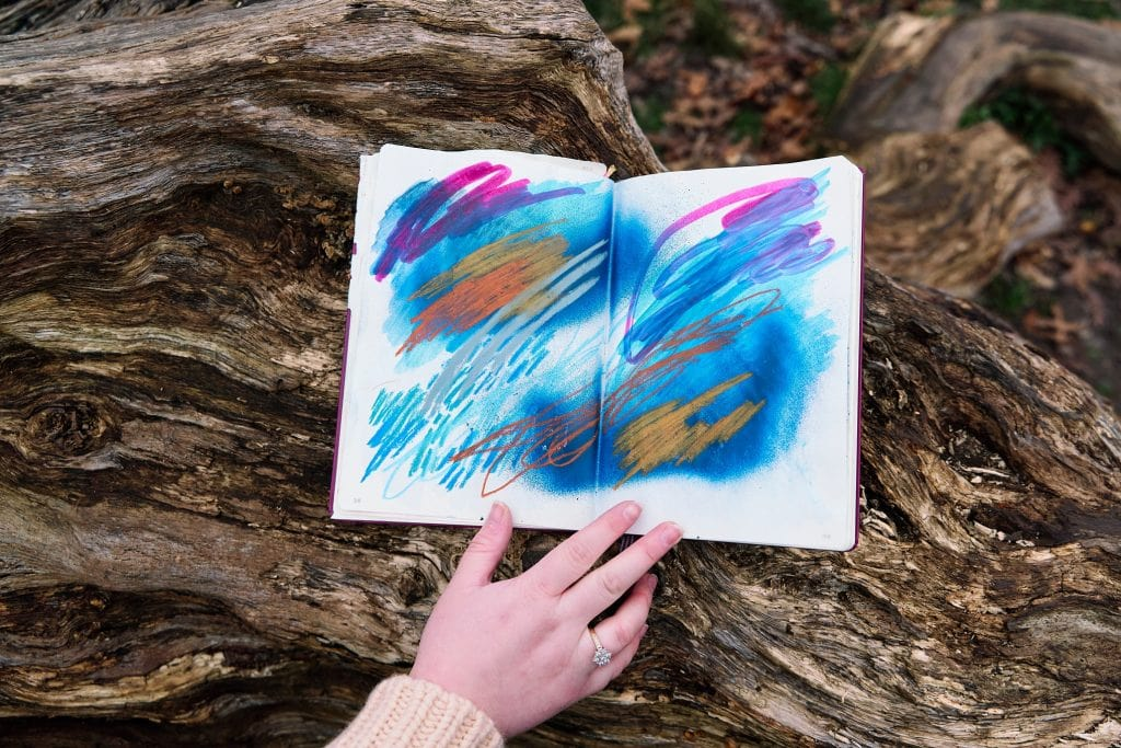 Photograph of artist journal showing her creative processes during a personal banding photography session in South-East London